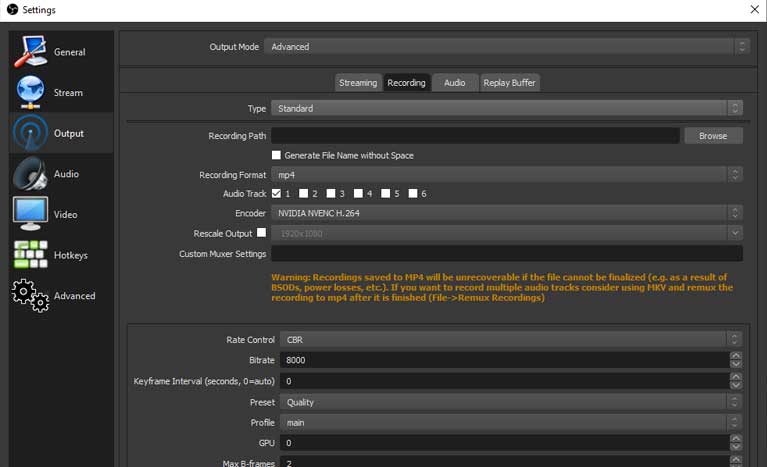output recording OBS settings