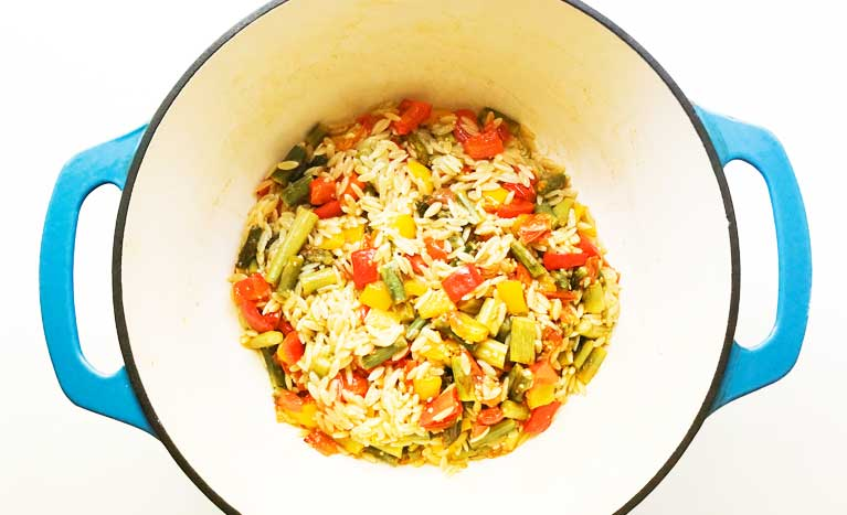 Orzo With Roasted Vegetables In A Bowl