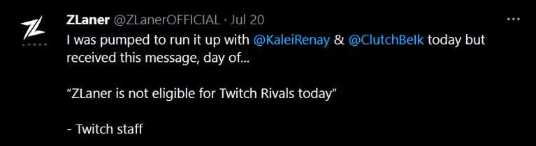 Zlaner Tweet on Twitch Rivals