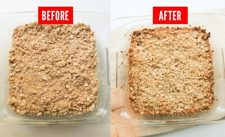 cherry crumble bars before and after bake