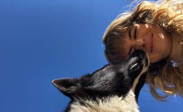 dog kissing person
